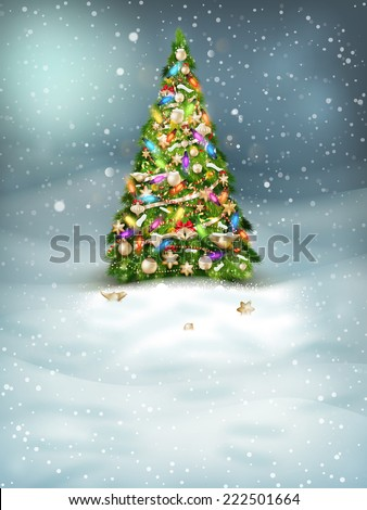 Christmas fir tree on winter landscape. EPS 10 vector file included - stock vector
