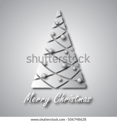 Christmas fir-tree with balls in grey background for a card vector