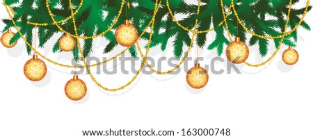 Christmas fir tree with decoration - stock vector