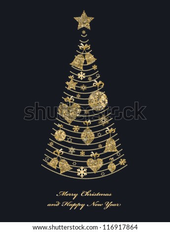 Christmas fir tree with golden toys. Christmas decorations. Vector - stock vector