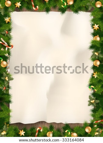 Christmas fir tree with paper and Christmas decorations. EPS 10 vector file included
