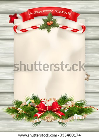 Christmas fir tree with paper and christmas decorations. EPS 10 vector file included - stock vector