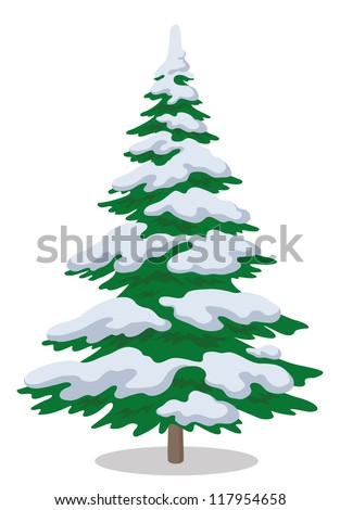 Christmas fir tree with snow, holiday winter symbol, isolated on white. Vector - stock vector