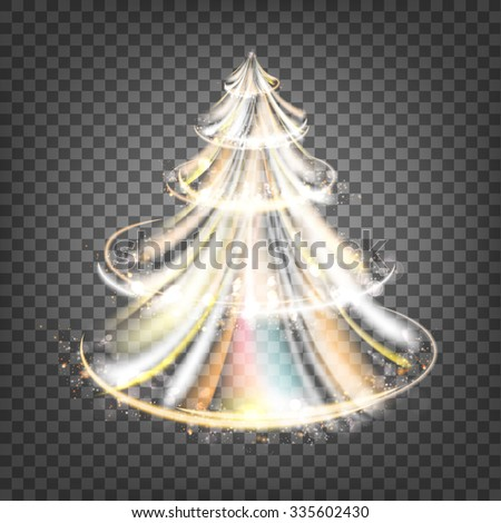 Christmas fir-tree with sparks and glow waves over transparent background. Vector illustration. - stock vector
