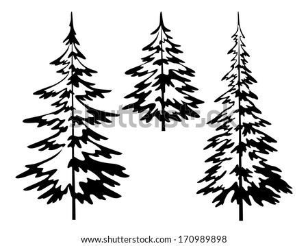 Christmas fir trees, symbolical pictogram, black contours isolated on white background. Vector - stock vector