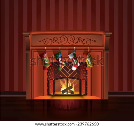 christmas fireplace - stock vector