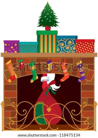 Christmas fireplace, gifts and Santa Claus/ Christmas fireplace - stock vector