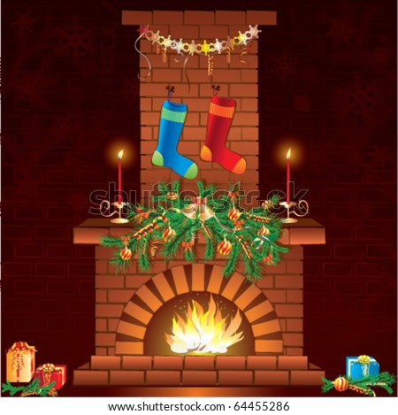 Christmas fireplace with socks and gifts - stock vector