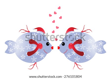 Christmas fish in love -two funny Christmas fish isolated on white background - stock vector
