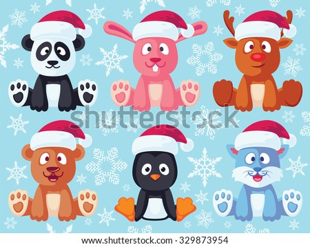 Set square flat christmas characters contain stock vector for Christmas pictures of baby animals