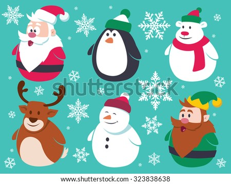 Christmas flat characters set. Contain cute vector cartoon characters like santa claus, penguin, polar bear, reindeer, snowman and a little elf. - stock vector