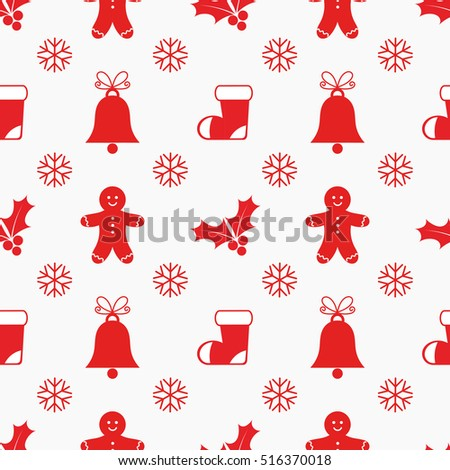 Christmas flat elements seamless pattern. Vector illustration