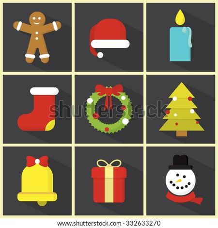 Christmas / Flat Icon Set / Minimal Design - stock vector