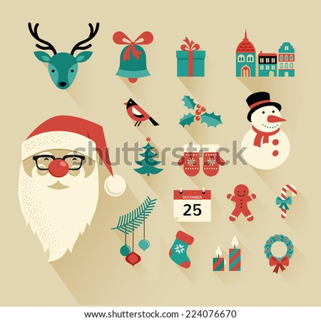 Christmas flat icons design set - stock vector