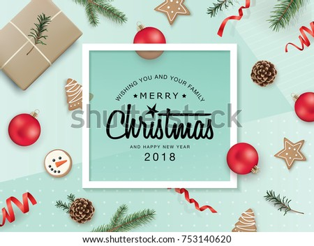 Christmas flat lay design with ribbons, Christmas ornaments, cookies, pine cones and fir branches