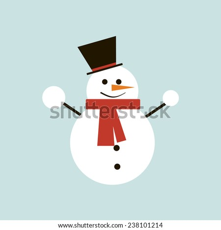 christmas flat snowman isolated. vector illustration - stock vector