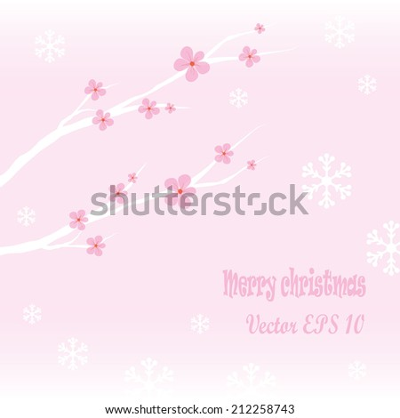 Christmas floral background with snowflakes