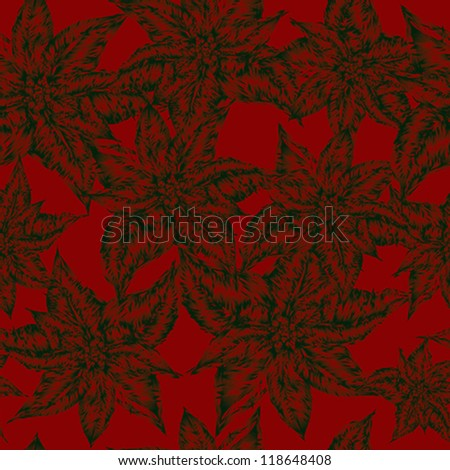 Christmas flower Poinsettia / Wrapping paper - stock vector