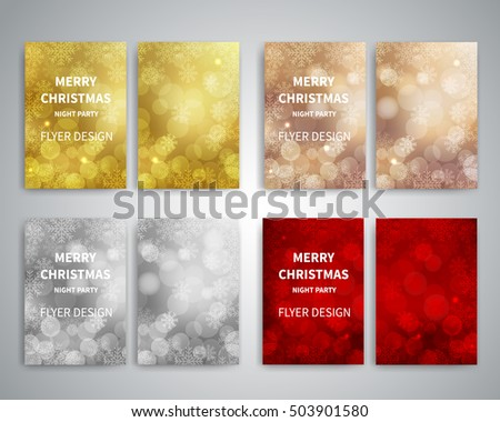 Christmas Flyer design templates. Set of A4 brochure flyer design templates with bokeh lights and snowflakes background. Design for Christmas party invitation cards, Christmas brochure