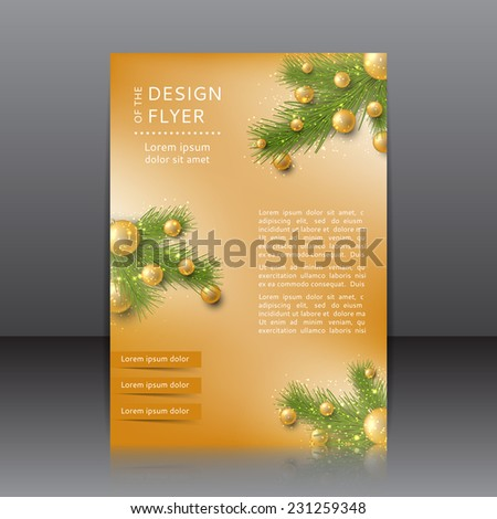 Christmas flyer with with Christmas tree and Christmas toys. Poster template for your business. - stock vector