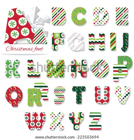Christmas font. Different patterns included under clipping mask. - stock vector