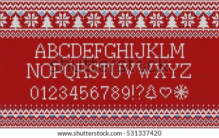 Christmas Font Knitted Latin Alphabet On Stock Vector 519410557 ...