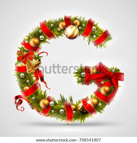 Christmas font. Letter G of Christmas tree branches, decorated with a red ribbon and golden balls. Highly realistic illustration.