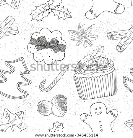 Christmas food seamless pattern. Surface hand drawn decoration with cake, ginger bread and cookie.Vector illustration. Cloth design, wallpaper, wrapping.