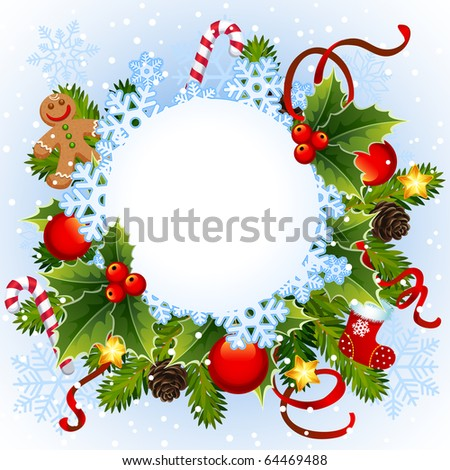 Christmas frame - stock vector