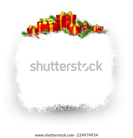 Christmas frame background with fir branches and realistic red gift boxes. Vector illustration.  - stock vector