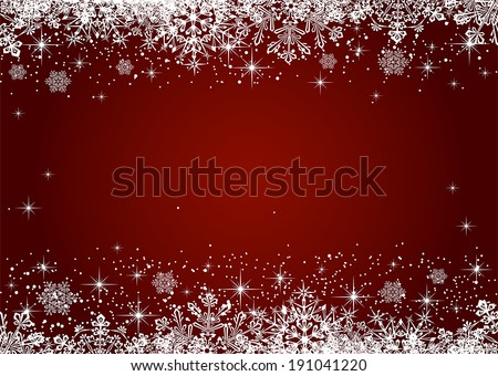 Christmas frame from snowflakes on red background, illustration. - stock vector