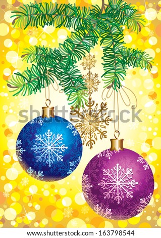 Christmas frame New Year greeting card - stock vector