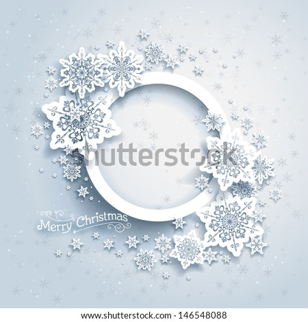 Christmas frame on snow background with space for text - stock vector