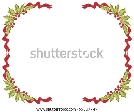 Christmas frame.Vintage background with Holly sprig for design - stock vector