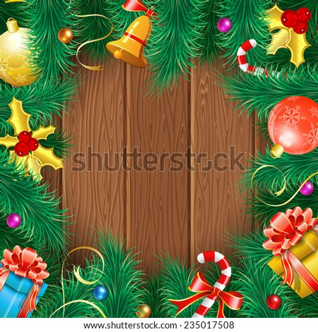 Christmas Frame with Baubles, Fir Branches, Bell, Gifts and Mistletoe on Wooden Boards. Vector background. - stock vector
