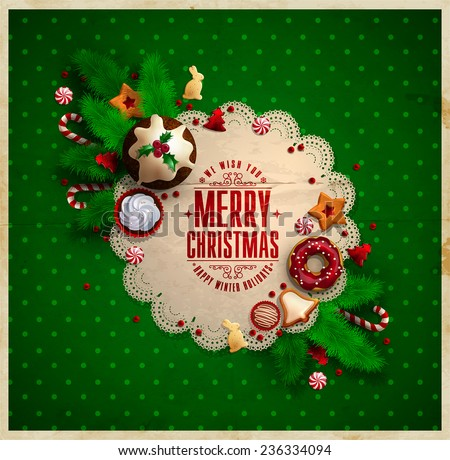 Christmas  frame with Christmas Typographic composition decorated with sweets, cupcakes, cookies, candy canes, Christmas Pudding and glass beads.  - stock vector