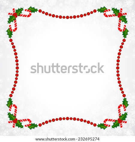 Christmas Frame With Holly Decoration. Colorful design. Vector illustration. - stock vector