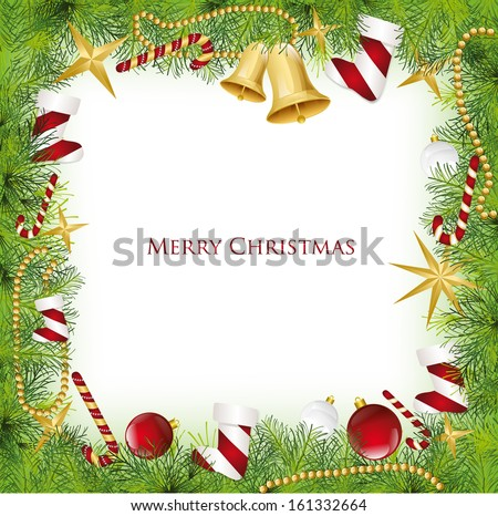 Christmas Frame With Holly Decoration. Vector illustration - stock vector