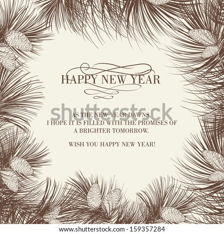 Christmas frame with pinecone isolated on white background. Vector illustration. - stock vector