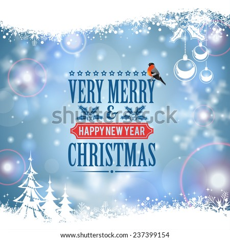 Christmas Frame with Retro Label, Tree, Bullfinch, Bauble and Snowflake on Blurred Bokeh Background. Vector Template for Flyers and Brochure. - stock vector
