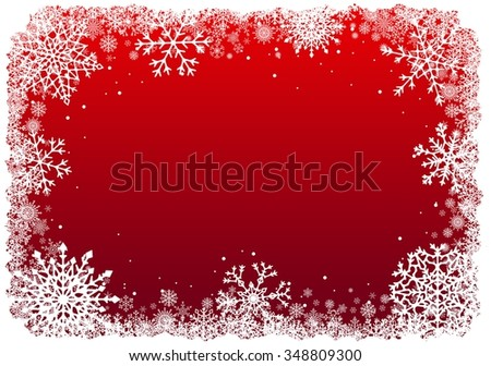 Christmas frame with snowflakes over red background. Vector illustration.