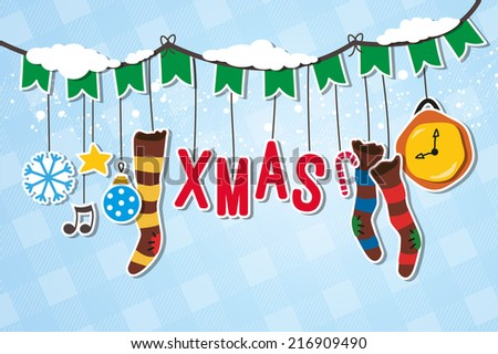 Christmas garland decorated with XMAS Hanger - stock vector