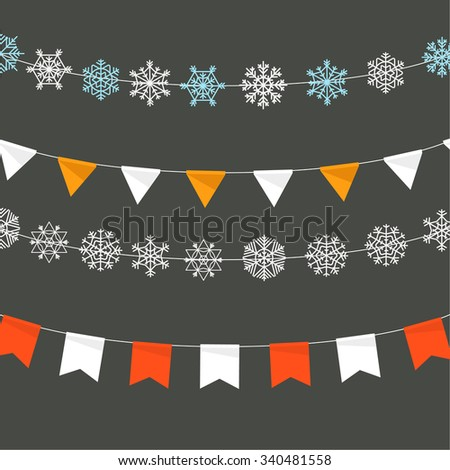 Christmas garland design template - stock vector