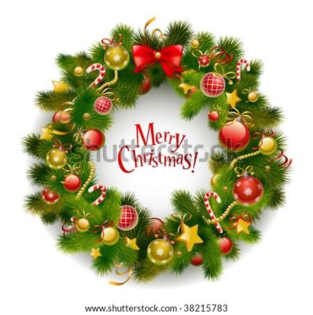Christmas garland on white vector image - stock vector