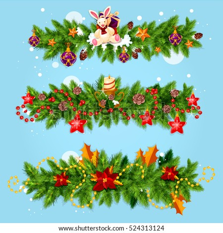 Christmas garland winter holidays greeting card. Pine and holly berry tree branches, decorated with star, candle, gift box, snowflake, bauble ball, poinsettia flower, cone