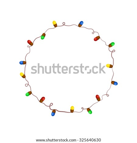 Christmas garland with colorful lights, creative template for New year greetings or photo frame, vector illustration isolated from background - stock vector