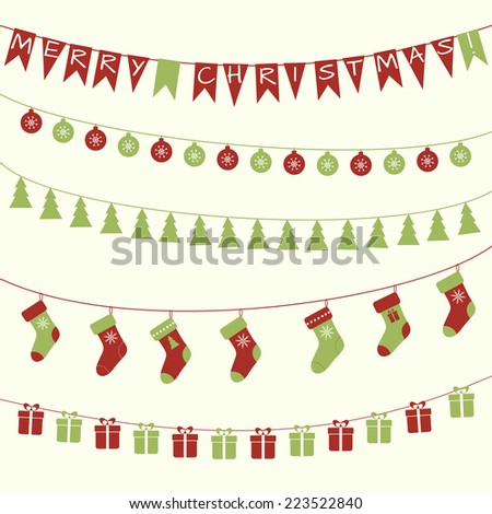 Christmas garlands - stock vector