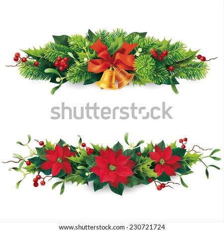 Christmas garlands on white. Vector eps 10. - stock vector
