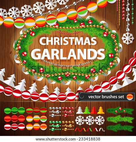Christmas Garlands Set on Wood Background for Celebratory Design. Used pattern brushes included. - stock vector