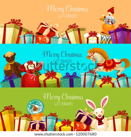 Christmas gift and toy banner set. Present boxes with bow and ribbon, santa bag with candy cane, plush bear and rabbit, snow globe, rocking horse and clown with bell. Xmas and New Year theme design